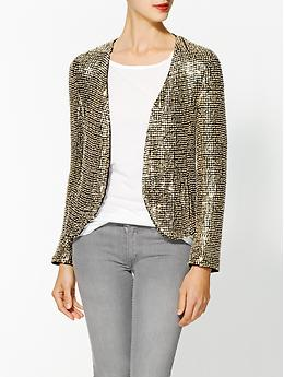 Silk Ivory Seed Sequin Jacket - Black with sequins