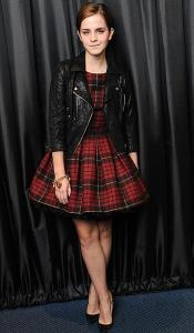 Emma Watson in plaid dress