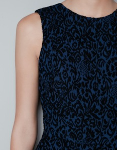 Zara blue jacquard dress close up