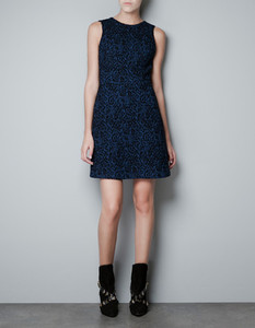 Zara blue jacquard dress