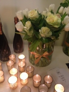 Bauble bar table with candles