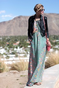 Coachella maxi dress with leather jacket