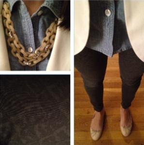 Cream blazer chambray shirt printed pants