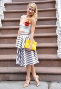 Eyelet crop top with striped skirt