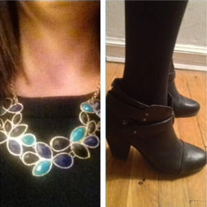 Forever21 necklace and Rag and Bone booties