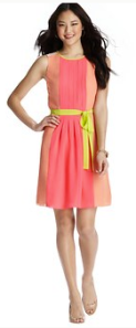 Loft neon colorblock pleated dress