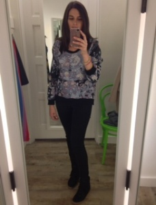 ootd Cynthia Rowley sweatshirt and Topshop wedge sneakers