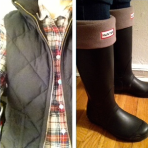 ootd hunter boots, jcrew vest and plaid