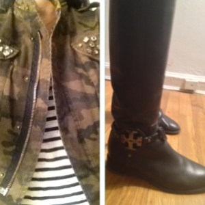 Zara camo jacket and Tory Burch riding boots