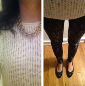 Zara open knit sweater and printed pants