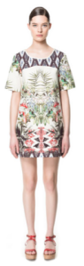 Zara printed shift dress