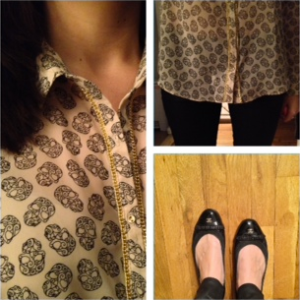 Zara skull shirt, coated denim, Chanel shoes