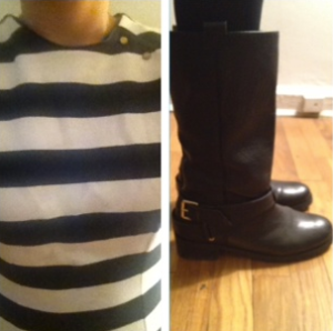 Zara striped dress and DVF motorcycle boots