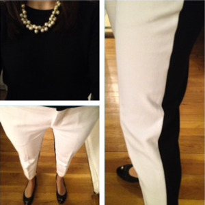 Black and white Zara pants and JCrew pearl necklace