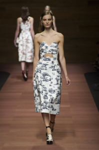 Carven black and white print cutout dress spring 2013