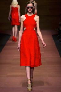 Carven red cutout dress spring 2013