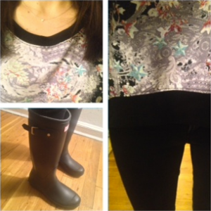 Cynthia Rowley printed sweatshirt and Hunter boots