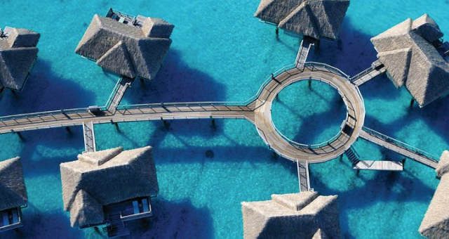 Four Seasons Bora Bora water bungalows aerial view