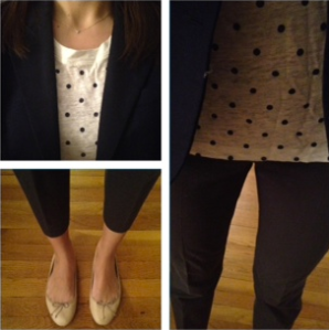 J. Crew blazer, dot shirt, pants, flats