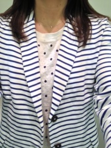 J. Crew striped blazer and dot shirt