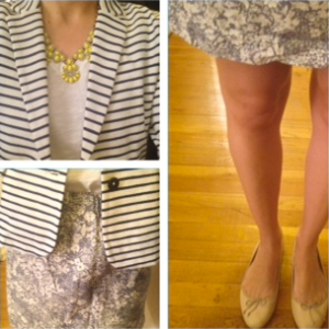 J. Crew striped blazer, skirt, and necklace