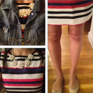 J. Crew striped dress and denim jacket