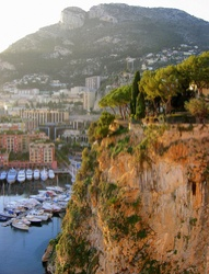 Monaco cliff with boats