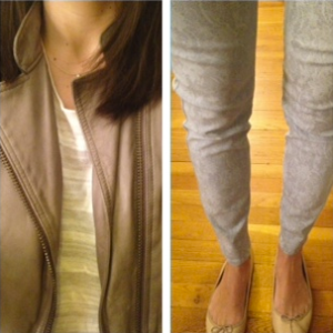 ootd printed pants with Banana Republic sweather and leather jacket