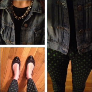 ootd Zara printed pants, J. Crew denim jacket