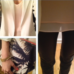 Zara tank and cream blazer with leather pants and dezso pouch