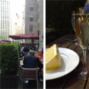 Del Frisco's Grille outside, lemon cake, and prosecco