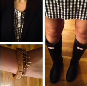 J. Crew gingham dress and Hunter boots ootd