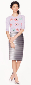 J.Crew No.2 pencil skirt in navy and white stripe