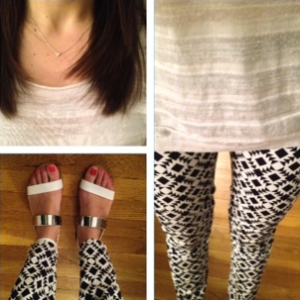 J. Crew printed pants and Zara sandals ootd