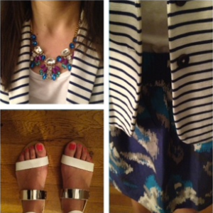 J. Crew striped blazer Loft skirt Zara sandals J. Crew necklace ootd