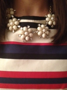 J. Crew striped dress, Anthropologie necklace