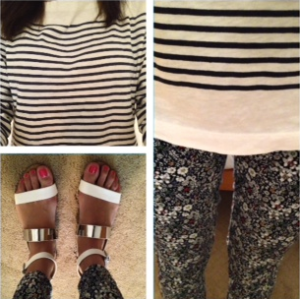 J. Crew striped shirt with Liberty print pants