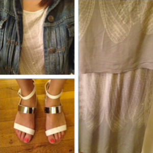 ootd feather print dress and j.crew denim jacket