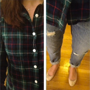 ootd J. Crew boyfriend jeans and perfect plaid shirt