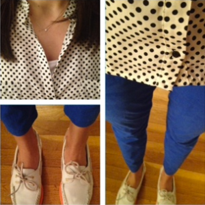 Polka dot shirt, Gap chinos, J. Crew Sperrys