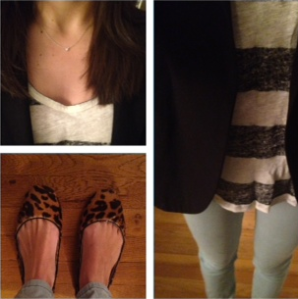 Zara striped tank and J. Crew cheetah flats