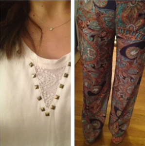 Zara wide leg printed silk pants ootd